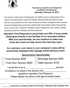 Information for sponsorship and auction donations. Thank you!